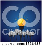 Clipart Of A Shining Idea Light Bulb With Plain Ones Below Over Blue Royalty Free Vector Illustration