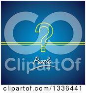 Poster, Art Print Of Yellow Outlined Question Mark With Puzzle Text Over Blue