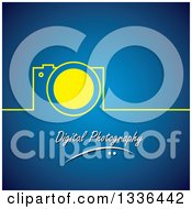 Clipart Of A Yellow Camera And Line Over Digital Photography Text On Blue Royalty Free Vector Illustration by ColorMagic