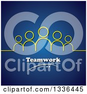 Clipart Of A Yellow Line And Group Of People Above Teamwork Over Blue Royalty Free Vector Illustration by ColorMagic