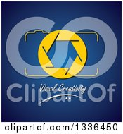 Clipart Of A Yellow Camera And Shutter Over Visual Creativity Text On Blue Royalty Free Vector Illustration by ColorMagic