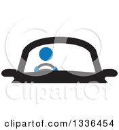 Clipart Of A Blue Person Driving A Car Royalty Free Vector Illustration