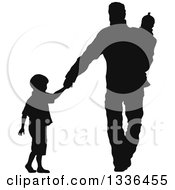 Black Silhouette Of A Son Holding Hands And Walking With His Father Who Is Carrying A Baby Sister