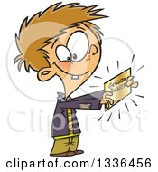 Clipart Of A Cartoon Happy Boy Charlie Holding A Golden Ticket Royalty Free Vector Illustration by toonaday