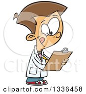 Clipart Of A Cartoon Caucasian Boy Wearing A Lab Coat And Writing On A Clipboard Royalty Free Vector Illustration