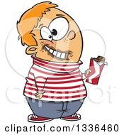 Cartoon Happy Chubby White Boy Holding A Chocolate Candy Bar With Gloop On His Face