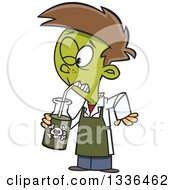 Clipart Of A Cartoon Boy Turning Green And Drinking A Poisonous Concoction Royalty Free Vector Illustration