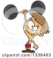 Clipart Of A Cartoon Caucasian Strong Boy Holding Up A Barbell One Handed Royalty Free Vector Illustration