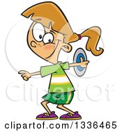 Clipart Of A Cartoon Caucasian Track And Field Girl Doing The Discus Throw Royalty Free Vector Illustration