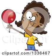 Cartoon Happy Black Girl Holding Up A Loli Pop