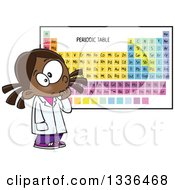 Cartoon African American School Girl Studying The Periodic Table Of Elements