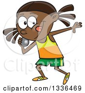 Clipart Of A Cartoon Black Track And Field Girl Throwing A Shotput Royalty Free Vector Illustration by toonaday