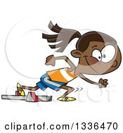 Clipart Of A Cartoon Black Track And Field Girl Taking Off For A Sprint Royalty Free Vector Illustration