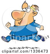 Clipart Of A Cartoon Chubby Determined Caucasian Man Running In A Track Suit Royalty Free Vector Illustration