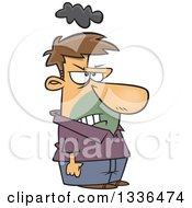 Cartoon Short Grumpy Caucasian Man With A Cloud Over His Head And Clenched Fists