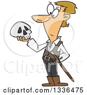 Clipart Of A Cartoon Man Hamlet Holding A Skull Royalty Free Vector Illustration by Ron Leishman