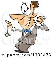 Cartoon Grinning Caucasian Male Hypnotist Swinging A Pocket Watch