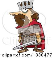 Clipart Of A Cartoon Angry King Macbeth Holding A Sword Royalty Free Vector Illustration by toonaday