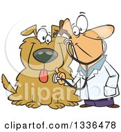 Clipart Of A Cartoon Happy Caucasian Male Veterinarian Using A Stethoscope On A Big Dog Royalty Free Vector Illustration by Ron Leishman