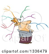Clipart Of A Cartoon Happy Caucaisan Man With A Mind Map Royalty Free Vector Illustration