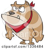 Clipart Of A Cartoon Angry Pit Bull Dog With His Paws In Fists Royalty Free Vector Illustration by Ron Leishman