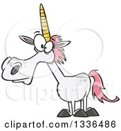 Clipart Of A Cartoon White Unicorn With Pink Hair Royalty Free Vector Illustration by Ron Leishman