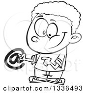Lineart Clipart Of A Cartoon Black And White African American Boy Holding An Email Arobase At Symbol Royalty Free Outline Vector Illustration by toonaday