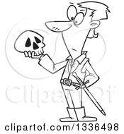 Lineart Clipart Of A Cartoon Black And White Man Hamlet Holding A Skull Royalty Free Outline Vector Illustration by toonaday