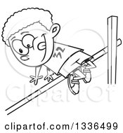 Lineart Clipart Of A Cartoon Black And White African American Boy Doing A Track And Field High Jump Royalty Free Outline Vector Illustration by toonaday