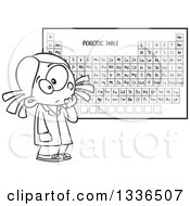 Lineart Clipart Of A Cartoon Black And White School Girl Studying The Periodic Table Of Elements Royalty Free Outline Vector Illustration