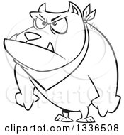 Lineart Clipart Of A Cartoon Black And White Angry Pit Bull Dog With His Paws In Fists Royalty Free Outline Vector Illustration
