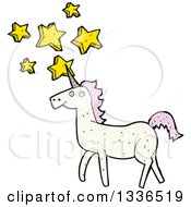 Clipart Of A White Unicorn With Pink Hair And Stars Royalty Free Vector Illustration