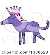 Clipart Of A Purple Unicorn Wearing A Crown Royalty Free Vector Illustration