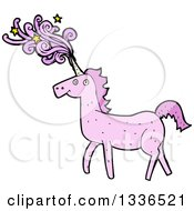 Clipart Of A Pink Unicorn With Magic Flowing From Its Horn Royalty Free Vector Illustration