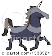 Clipart Of A Cartoon Black Unicorn Running Royalty Free Vector Illustration by lineartestpilot