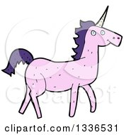 Clipart Of A Pink Unicorn With Purple Hair Royalty Free Vector Illustration by lineartestpilot