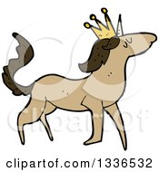 Clipart Of A Cartoon Brown Unicorn Wearing A Crown Royalty Free Vector Illustration