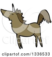 Clipart Of A Cartoon Brown Unicorn Royalty Free Vector Illustration by lineartestpilot