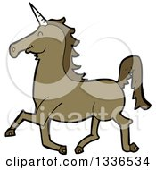 Clipart Of A Cartoon Brown Unicorn Running Royalty Free Vector Illustration by lineartestpilot