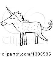 Lineart Clipart Of A Cartoon Black And White Unicorn Royalty Free Outline Vector Illustration by lineartestpilot