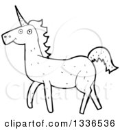 Lineart Clipart Of A Cartoon Black And White Unicorn 2 Royalty Free Outline Vector Illustration by lineartestpilot