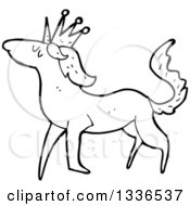 Lineart Clipart Of A Cartoon Black And White Unicorn 3 Royalty Free Outline Vector Illustration by lineartestpilot