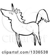 Lineart Clipart Of A Cartoon Black And White Unicorn 4 Royalty Free Outline Vector Illustration by lineartestpilot