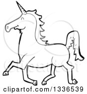 Lineart Clipart Of A Cartoon Black And White Unicorn Running Royalty Free Outline Vector Illustration by lineartestpilot