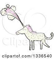 White Unicorn With Patterned Pink Hair And A Shooting Star Emerging From His Horn