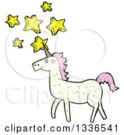 White Unicorn With Patterned Pink Hair And Stars