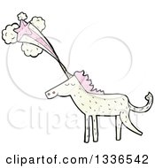 White Unicorn With Textured Pink Hair And A Shooting Star Emerging From His Horn