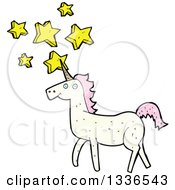White Unicorn With Pink Hair And Stars 2