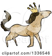 Textured Brown Unicorn Wearing A Crown 2