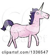 Clipart Of A Textured Pink Unicorn With Dark Purple Hair Royalty Free Vector Illustration